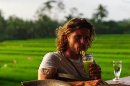 Rijstvelden Ubud sap drinken