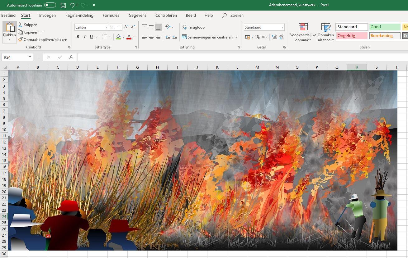 Kunst in Excel werkblad